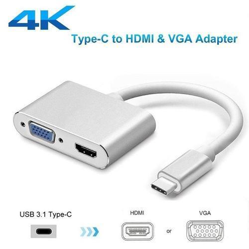 Convertidor Tipo C A Vga Y Hdmi Usb 3.1 Mac Android Pc