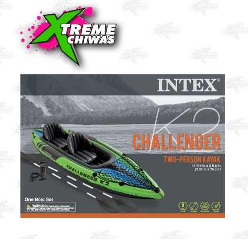 Kayak Challenge K2 Inflable Remo Bomba Color Verde Xtreme P