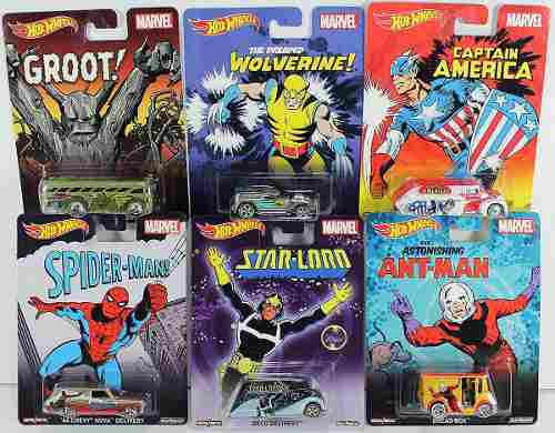 Set 6 Autos Pop Culture Hot Wheels Marvel Captain Star Groot