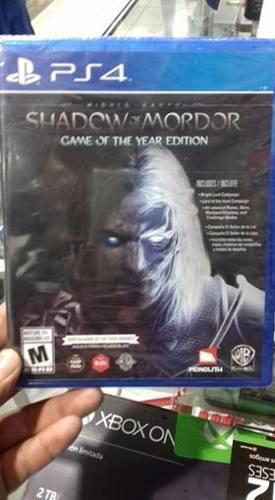 Shadow Of Mordor Game Of The Year Edition Goty Dlc Ps4 Nueva