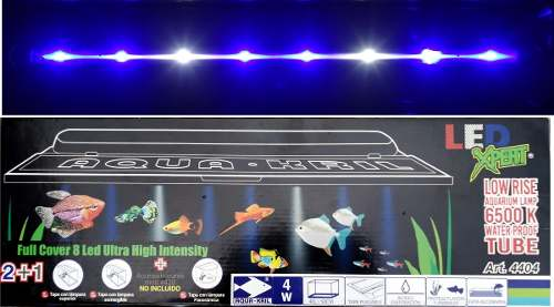 Tapa Con Lampa Led Pecera 50cm Luz Blanca Y Azul