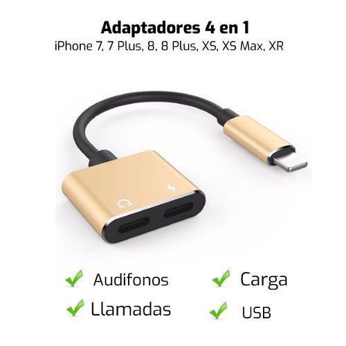 Adaptador 4 En 1 - Audio Y Llamadas Iphone 7, 8, X, Xs Max
