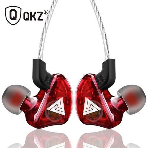 Audífonos Monitor Inear Qkz Ck5 Super Bass Con Mircro Rojo