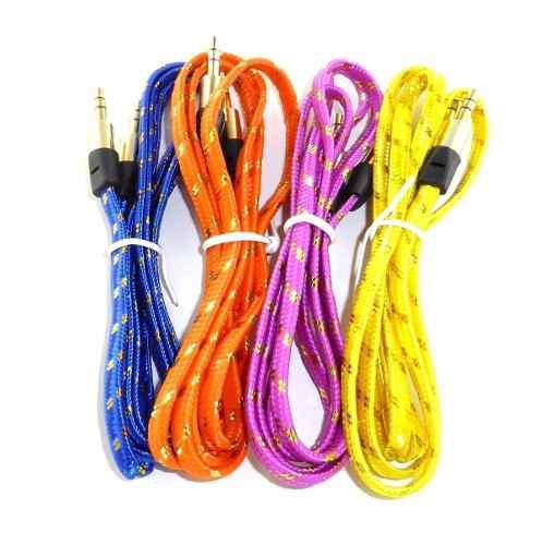 Cable Auxiliar Audio Plug 3.5 Agujeta Tela Colores