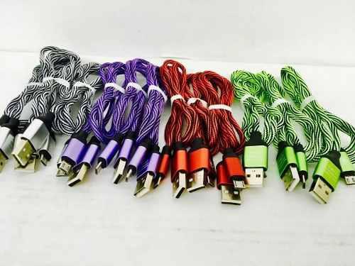 Cable Micro Usb Tela Carga Rapida De Colores