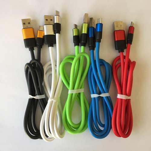 Cable Usb V8 Reforzado Gel 1 Metro Puntas Metalicas