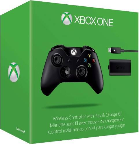 Control Inalambrico Xbox One S Slim Negro+kit Carga Y Juega