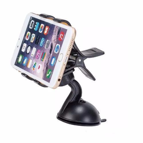 Porta Telefono Auto Soporte Celular 360° Doble Pinza