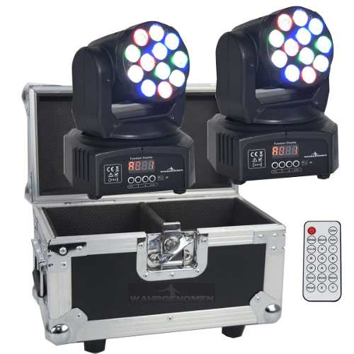 Set De 2 Cabeza Movil 12 Led 5w Wash Rgb Robotica Dmx Case