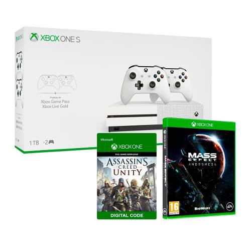 Xbox One S Blanco / 1tb + 2 Controles Mass Efectts + Regalo