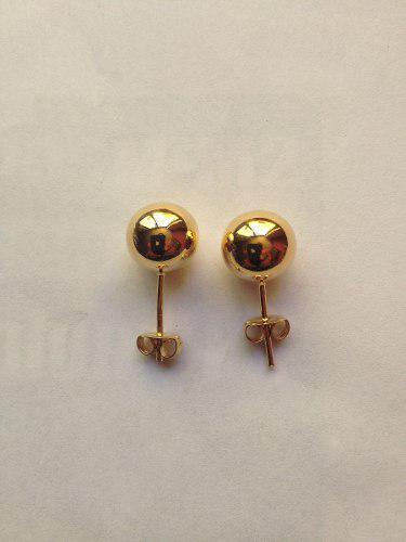 Aretes Broquel De Bola Lisa De 10mm Chapa De Oro 22 Kilates