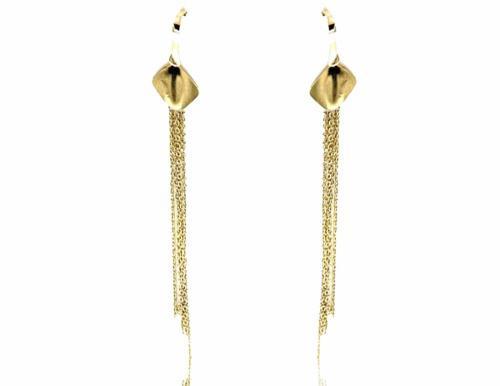 Aretes Colgantes Con Hilos De Oro 14 K + Obsequio