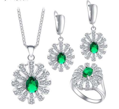 Aretes Collar Anillo Plateado Cristales Esmerald Caja Talla7