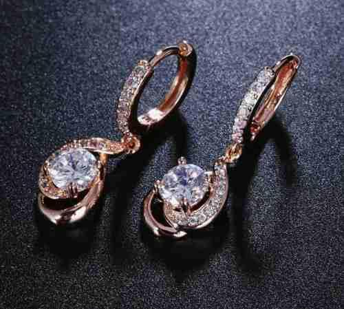 Aretes De Oro Rosa 3cm Con Cristal Estuche Y Envio Gratis