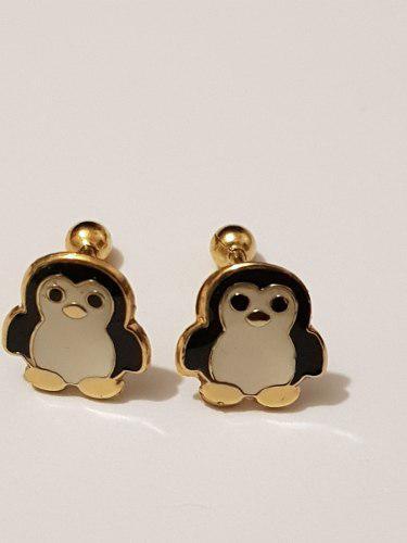 Aretes De Pinguino Negro De Oro Laminado Envio Gratis