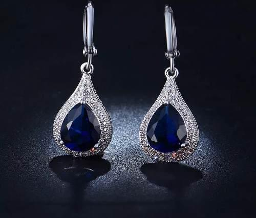 Aretes Gota Azul Marino Oro 18kgp Y Zirconia Aaa Envío