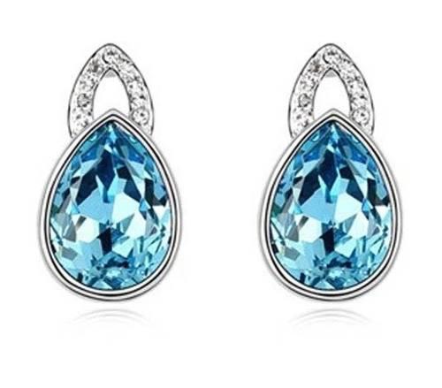 Aretes Gota Azul Swarovski Elements Envío Gratis