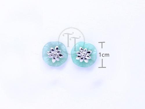 Aretes Jade Natural Plata Esterlina 925 Flor De Loto