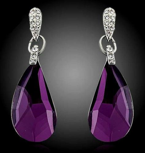 Aretes Largos Cristal Swarovski Elements Deep Purple Envío