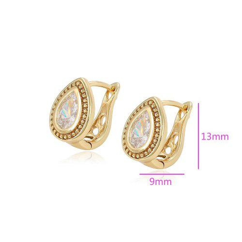 Aretes Oro 18k Laminado Vintage Gota C/zirconias Diamante