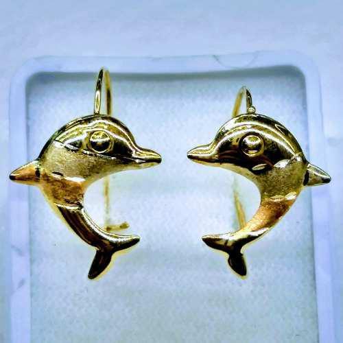 Aretes Pendientes De Delfin En Oro Solido 10kt Alto 2 Cm