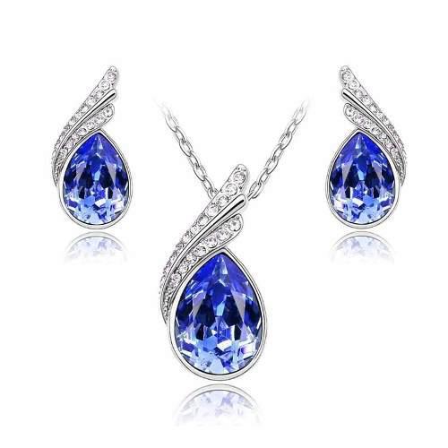 Aretes Y Collar Chapa Oro Con Cristales Swarovsk Caja Regalo