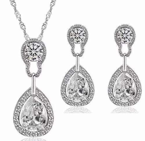 Aretes Y Collar Chapa Oro Set Con Cristales Tipo Swarovsk