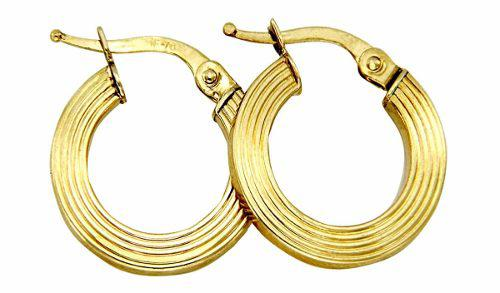 Arracadas Circulares Con Líneas En Oro De 14 K + Obsequio