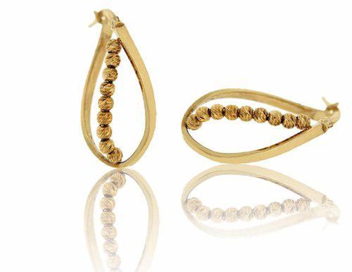 Arracadas En Gota Espiral Con Bolas Oro 14 K + Obsequio