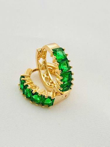 Arracadas Zirconias Verdes Y Oro Laminado18k+estuche