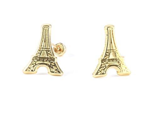 Broquel Torre Eiffel En Oro Solido De 10 K + Envío Gratis