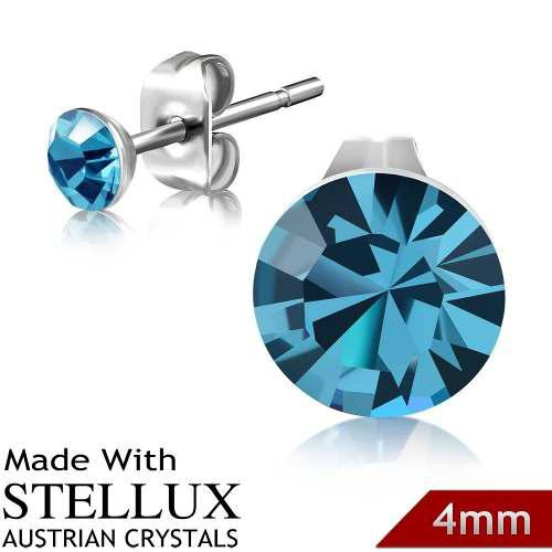 Broqueles De Acero Y Cristal Austriaco Stellux 4mm Aqua