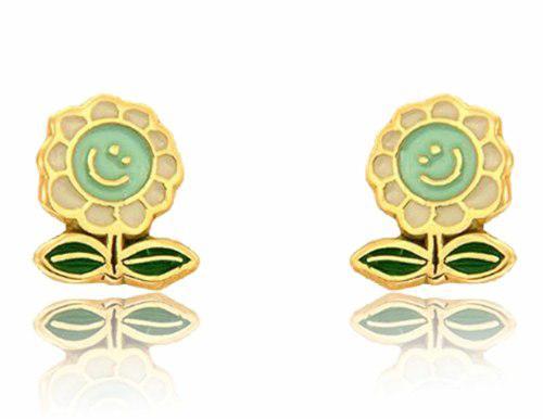 Broqueles De Flor Sonriente Esmaltados Oro 14 K + Obsequio