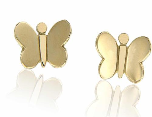 Broqueles De Mariposa Lisa Oro 14 K + Obsequio
