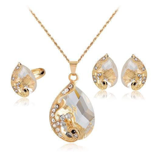 Gargantilla Aretes Y Anillo Pavorreal Dorado Cristales