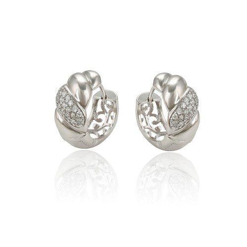 Hermosas Arracadas De Oro Blanco Zirconias Calidad Diamante