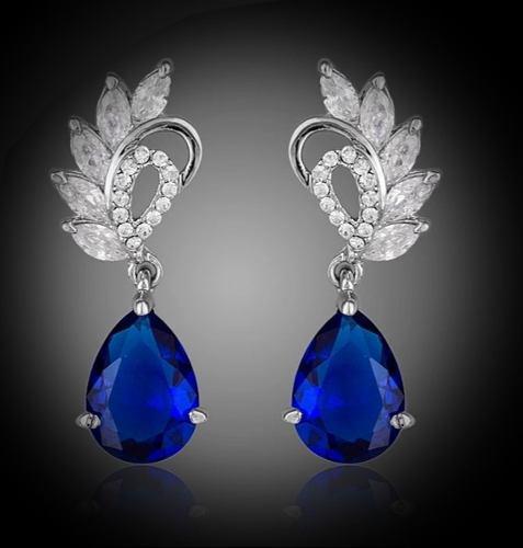 Hermosos Aretes Azul Fiesta Cristal Austriaco Blue Wings