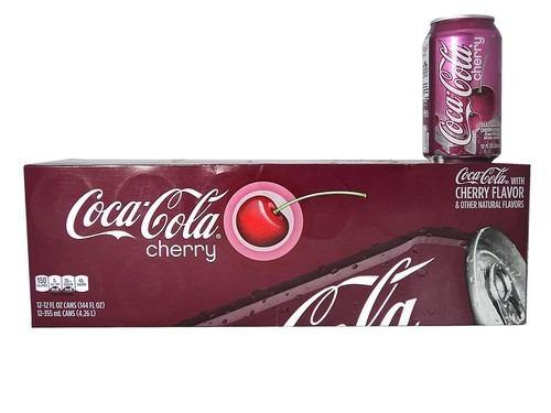12 Latas De Coca Cola Cherry Cereza De 355 Ml