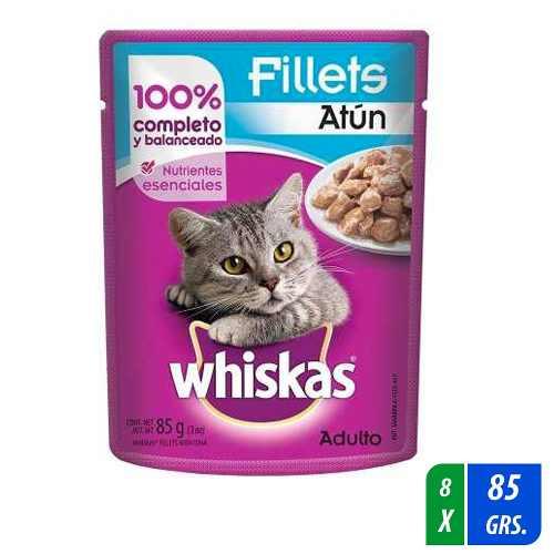 Alimento Para Gato Whiskas Fillets Atún 8 Paq. 85 Gr C/u