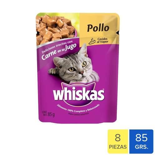 Alimento Para Gato Whiskas Fillets Pollo 8 Paq. 85 Gr C/u