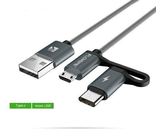 Cable Carga Rapida 2 En 1 Floveme Micro Usb Tipo C 1 Metro