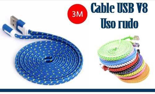 Cable Cargador V8 Micro Usb 3 Metros Uso Rudo