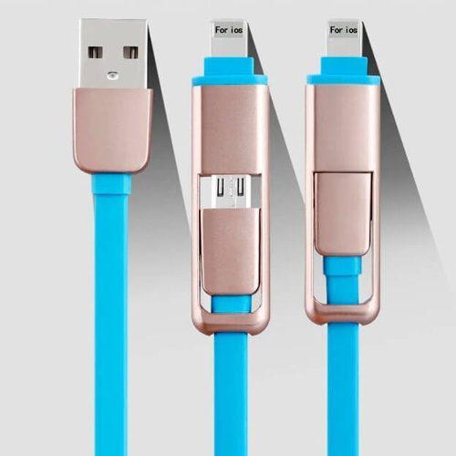Cable De Datos Y Carga Rapida 2 En 1 Para Android V8 Y Iph