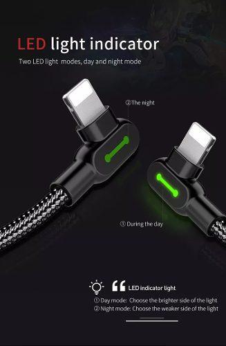 Cable Lightning Gamers Mcdodo Iphone 5/6/7/8/x/xs Azul Negro