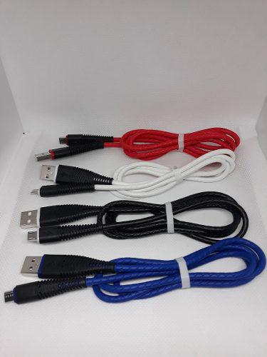 Cable Micro Usb V8 Reforzado Puntas Metalicas