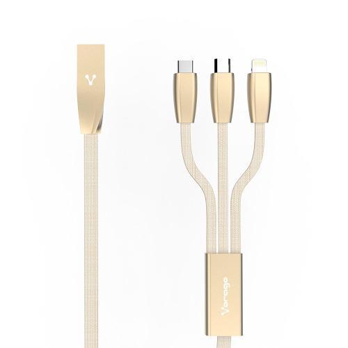 Cable Tipo C Carga Rapida 3 En 1 Micro Usb Lightning Vorago