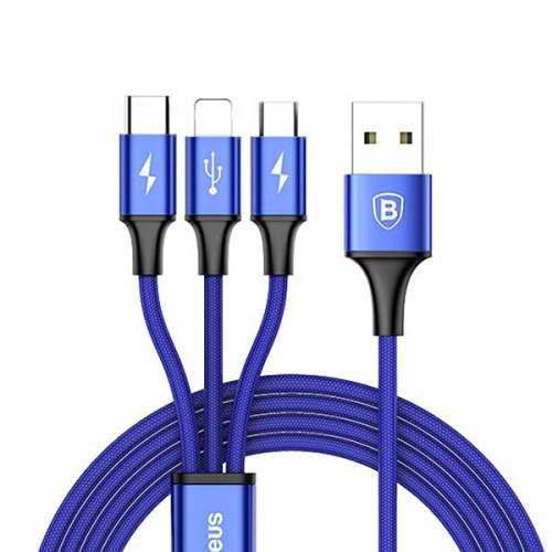 Cable Usb 3 En 1 Baseus Apple Lightning Micro Usb Tipo C