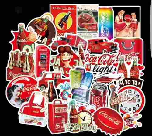 Coca Cola 50 Calcomanias Stickers Pvc Contra Agua Decora