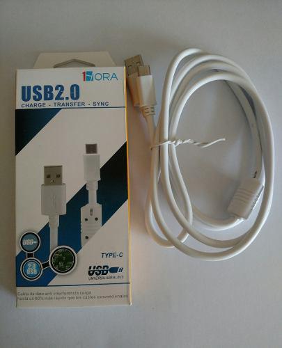 Mayoreo 10 Pzas Cable Usb Tipo C Reforzado Filtro 1.5 Metros