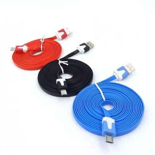 Paquete Con 10 Cables Planos Micro Usb V8 3 Metros Celular